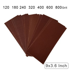 10 Pack Cloth Backed Long lasting Aluminum oxide Coated Abrasive Cloth Dry/ Wet 9 x 3.6 Inch